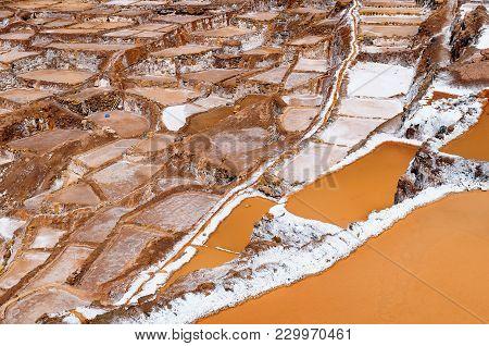 Pre Inca Traditional Salt Extraction Pans (salinas) In Sacred Valley Of Incas, Peru