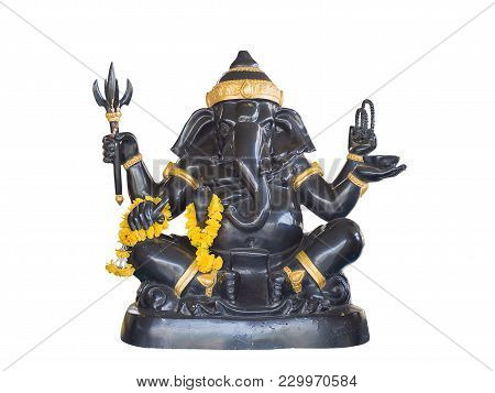 Hindu God Ganesha Lord Of Success , Isolated On White Background. (clipping Path)