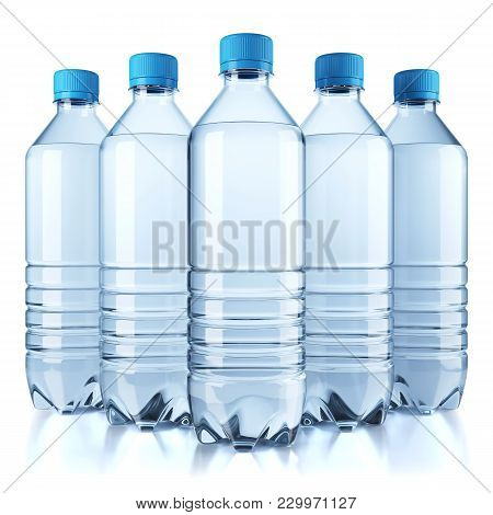 Group Of Plastic Bottle With Water Isolated On White Background. 3d