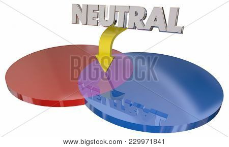 Neutral Choice Two Options Middle Ground Compromise 3d Illustration