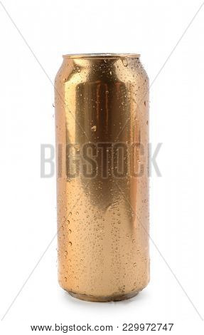 Can of beer on white background