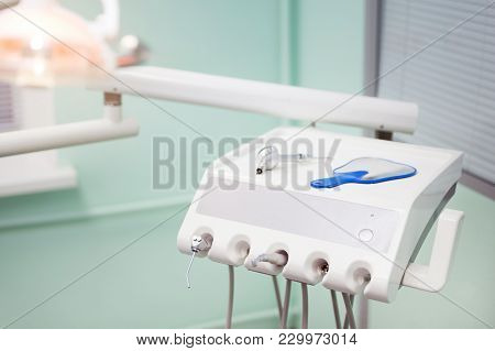 Dental Instrument In Stomatology Clinic. Compressed Air And Water Irrigation Nozzle. Professional De