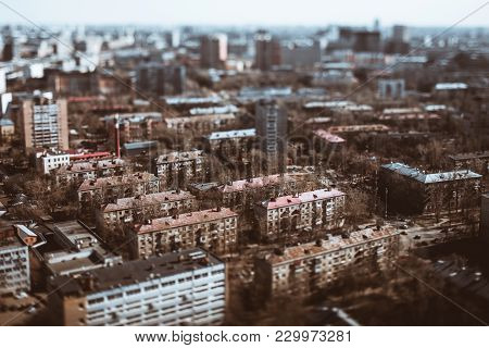 True Tilt-shift View From Hight Point Of Residential District Of Consisted Of Modular Prefabricated