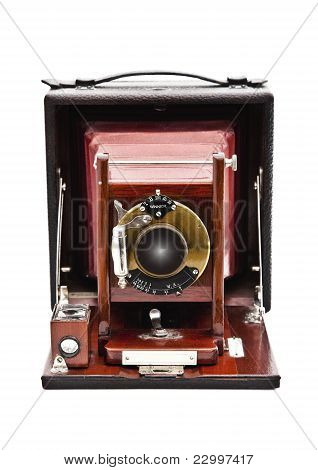 Vintage plate camera isolated on white