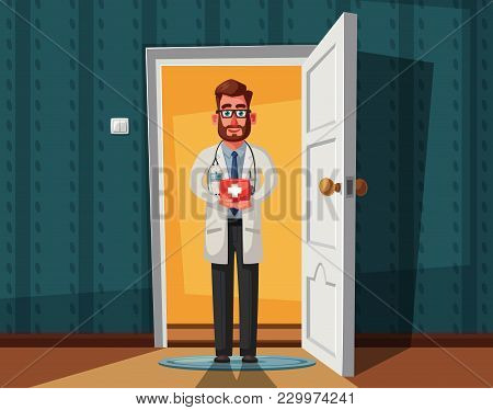Smart Doctor. Funny Character Design. Cartoon Vector Illustration. Healthcare Concept. Handsome Male