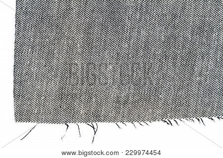 Piece Of Black Jeans Fabric Isolated On White Background. Rough Uneven Edges. Wrong Side Of Fabric