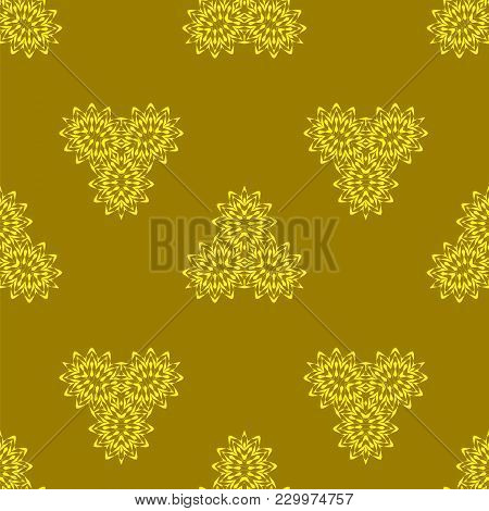 Yellow Orange Ornamental Seamless Line Pattern. Endless Texture. Oriental Geometric Ornament