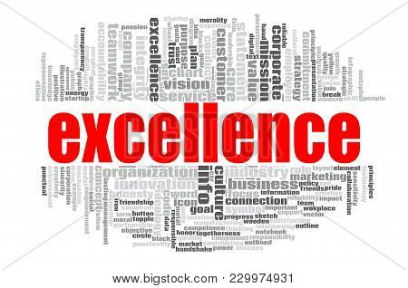 Excellence Word Cloud Concept On White Background, 3d Rendering.