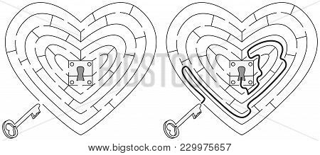 Easy Heart Maze For Younger Kids With A Solution In Black And White