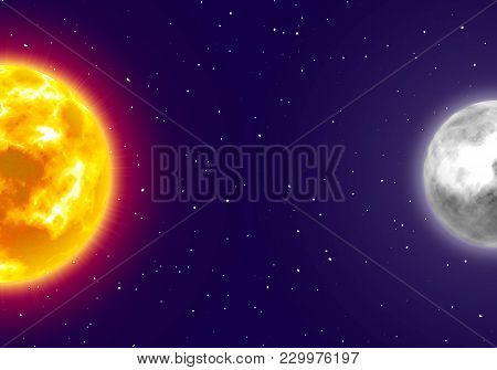Moon And Sun Banner, Night Sky Background, Cartoon Style. Star And Planet Of Solar System In Galaxy.