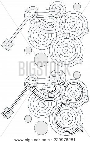 Easy Soap Bubbles Maze For Younger Kids With A Solution In Black And White