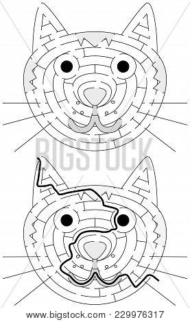 Easy Cat Maze For Younger Kids With A Solution In Black And White