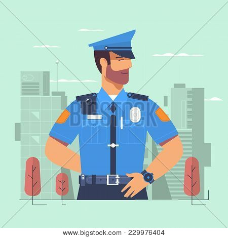 Police Officer, Policeman, Cartoon Character, Vector Illustration Isolated On Background