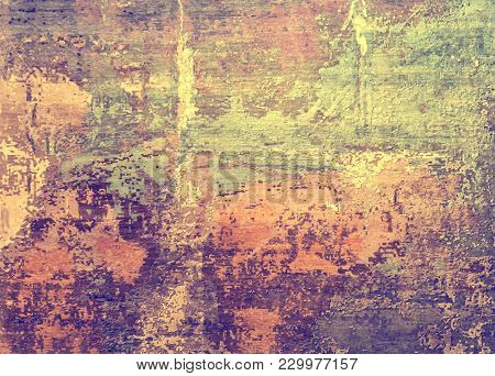 Grunge Old Wall Texture Background. Layers Of Paint Cracking Off Wall With Rust Underneath. Ink Colo
