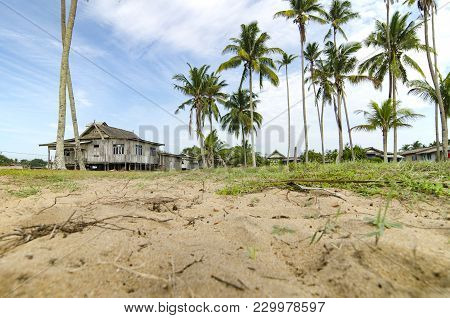 Beautiful Village Scenery Located In Terengganu, Malaysia. Surrounded By Coconut Tree, Cloudy Sky An