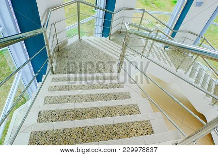 Close-up Shot,railing And Stairs Of Modern Building