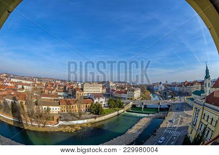 Aerial View From The City Hall Tower Over Oradea Town With Historic Buildings, Crisul Repede And Chu