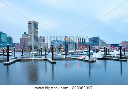 Baltimore, Maryland, United States - April 25, 2011: Downtown City Skyline At The Inner Harbor And B