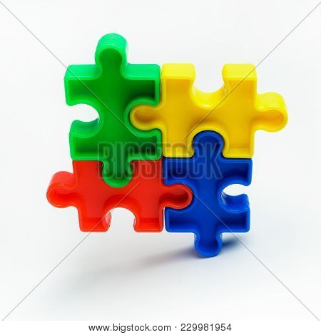 Puzzle: Autism Awareness Day Or Month Concept, On White Background