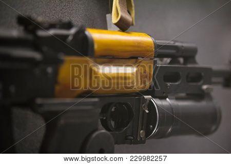 Barrel Of The Machine Gun - Russian Weapon, Automatic Rifle, Close Up
