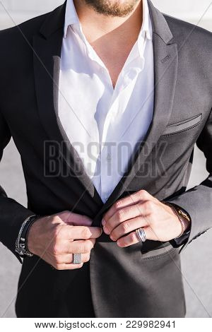 Anonymous No Face Young Stylish Businessman Entrepreneur Or Worker In Expensive New Designers Black
