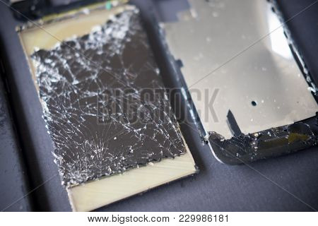 Close Up Modern Mobile Phone With Broken Screen, Smartphone With Broken Screen