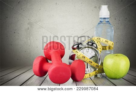 Weight Tape Dumbbells Sport Red Objects Background