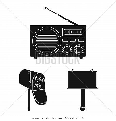 Production Of Advertising Black Icons In Set Collection For Design. Advertising Equipment Vector Sym