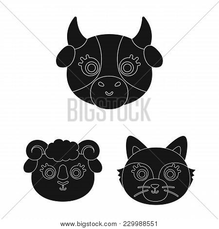 Muzzles Of Animals Black Icons In Set Collection For Design. Wild And Domestic Animals Vector Symbol