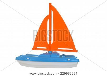 Closeup Child Toy Sail Boat On White