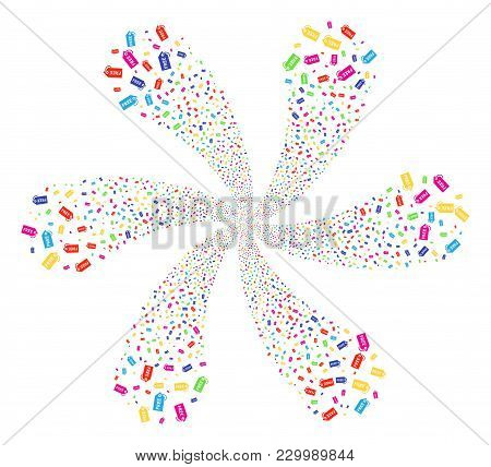 Multi Colored Free Tag Twirl Fireworks. Hypnotic Twist Combined From Random Free Tag Symbols. Vector