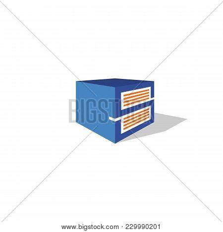 Storage Square Box Vector Icon Logo Template