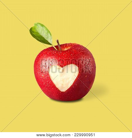 Sign Apple Heart Carved Healthy Lifestyle Healthy Food Low Calorie