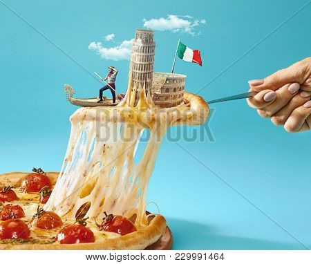 Taste Italy Concept. The Collage About Italy With Female Hand, Gondolier, Pizza And Major Sights. Tr