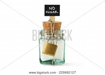 Sugar Jar Wrapped In Metal Chain And Padlock - No Sugar Diet Concept