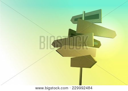 Wooden Old Road Sign In Village Style. Sunlight On Wood Arrow Plate. Western Grunge Navigation. Vect