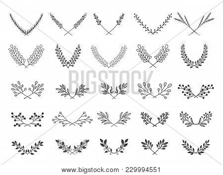 Collection Of Beautiful Flourishes Calligraphic Ornaments And Dividers. Decor Of Design Elements, De