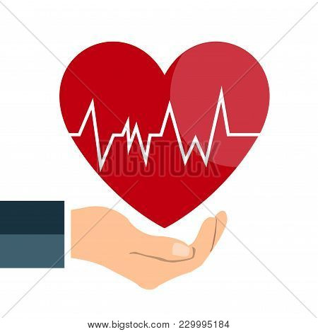 Heart Beat Line On Hand Icon On White Background
