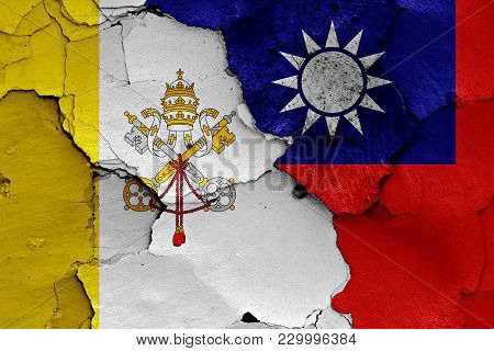 Flag Of Vatican And Taiwan Painted On Cracked Wall