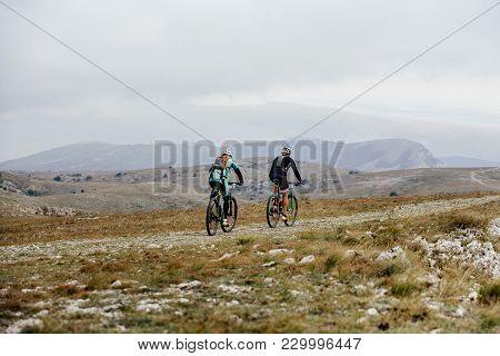 Mountain Trail Two Athlete Cyclist Competition Mountainbike