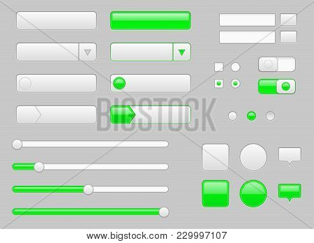 White Web Interface Buttons, Slider And Icons With Green Tags. Vector Illustration