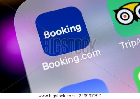 Sankt-petersburg, Russia, March 7, 2018: Booking.com Application Icon On Apple Iphone X Screen Close
