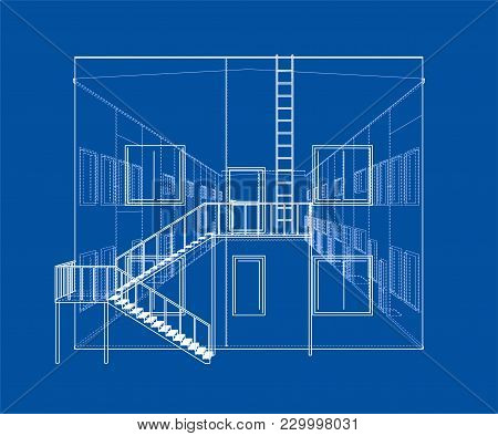 Concept Of Building. Vector Rendering Of 3d. Wire-frame Style. The Layers Of Visible And Invisible L