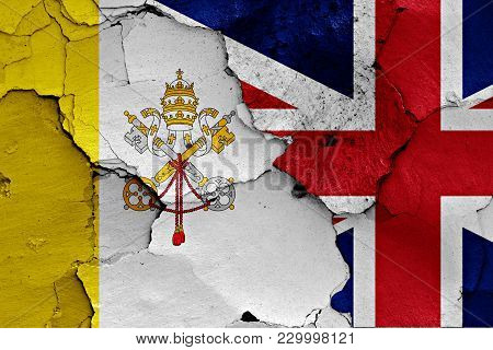 Flag Of Vatican And Uk Painted On Cracked Wall