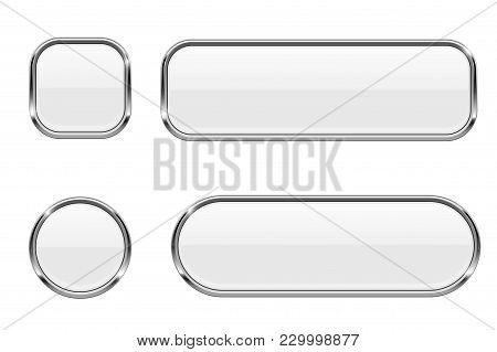 White Buttons. Glass 3d Icons With Chrome Frame. Vector Illustration Isolated On White Background