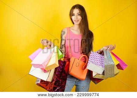 Woman Shopper With Shopping Bags, Purchase. Woman Shopaholic With Paper Bags, Sale. Fashion, Beauty,