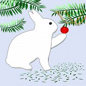 white bunny rabbit decorating Christmas tree with ornaments poster