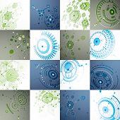 Set of modular Bauhaus 3d vector backdrops, created from geometric figures like hexagons, circles and lines. For use as advertising poster or banner design. Perspective abstract mechanical schemes. poster