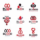 Set of vector blood donation conceptual illustrations. Hematology theme, medical treatment designs for use in pharmacy. poster