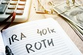 Words IRA 401k ROTH handwritten in a note. Retirement plans. poster